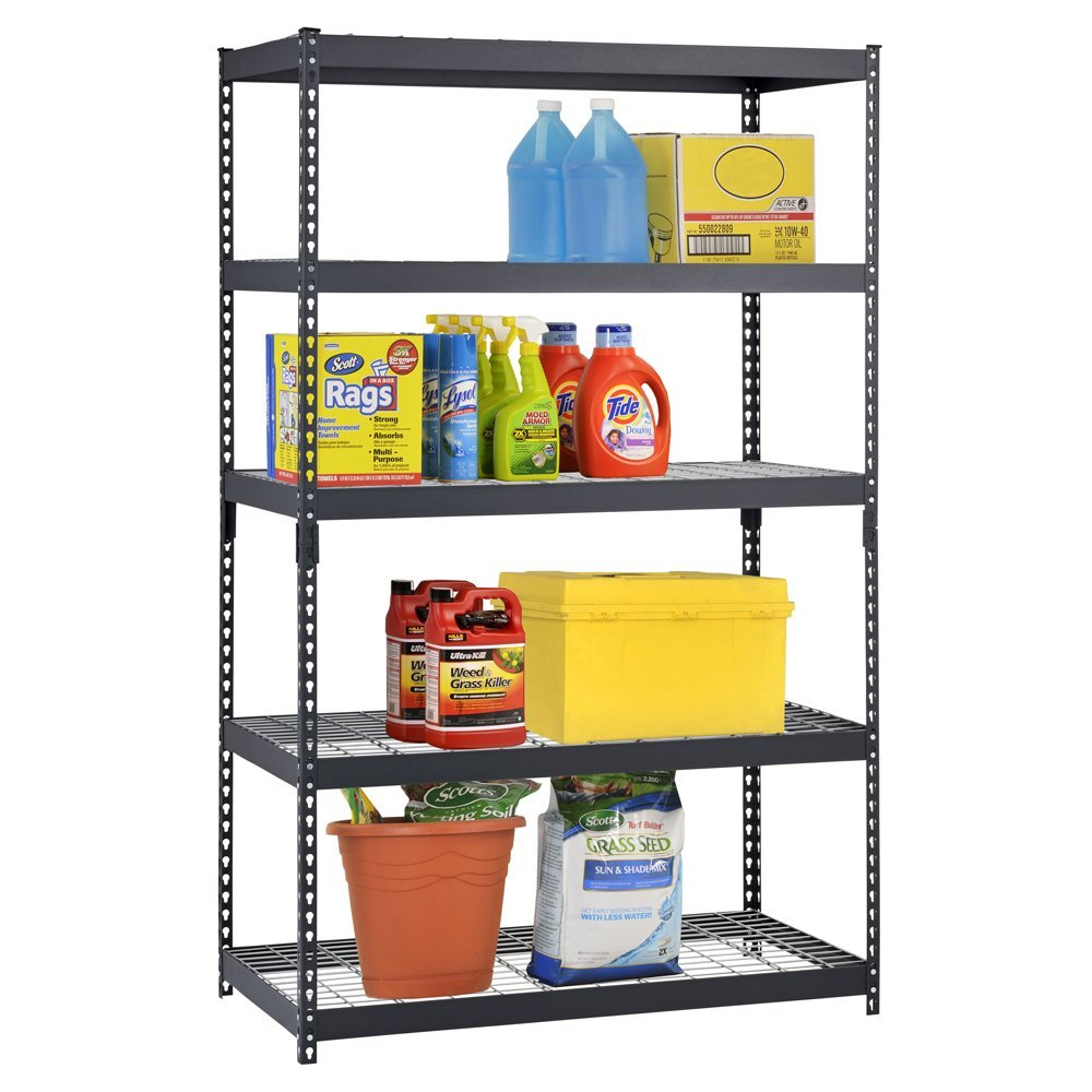Edsal 5 shelf heavy duty steel shelving - Review Of Adjustable Black Steel Shelving Unit
