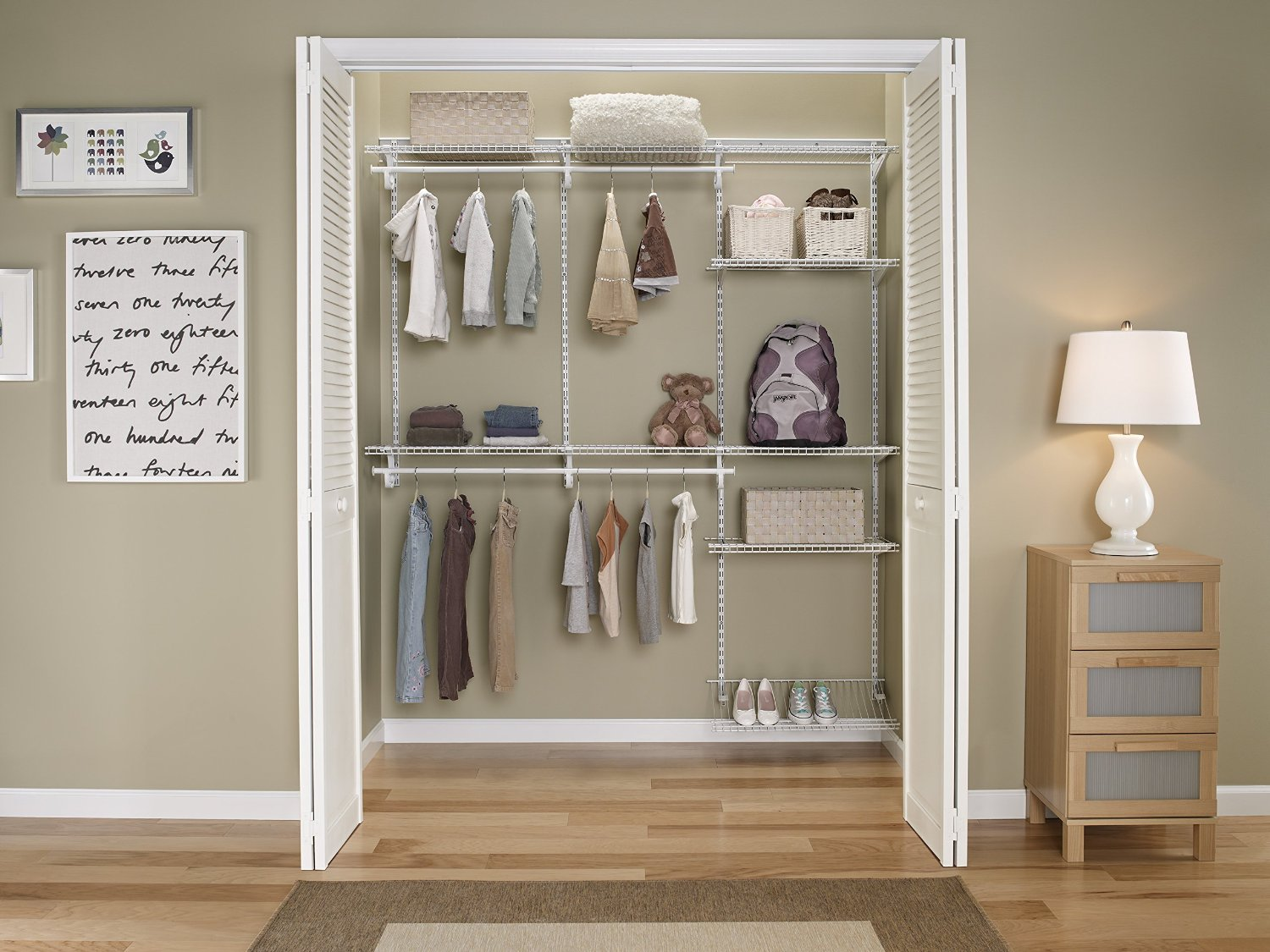 Adjustable Closet Organizer White Color 5 To 8 Feet