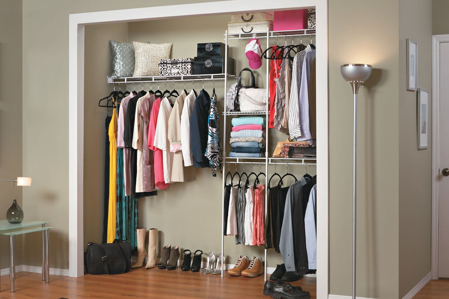 White Wire Closet Organizer Kit Adjustable Shelf Rack Storage Garment Clothes