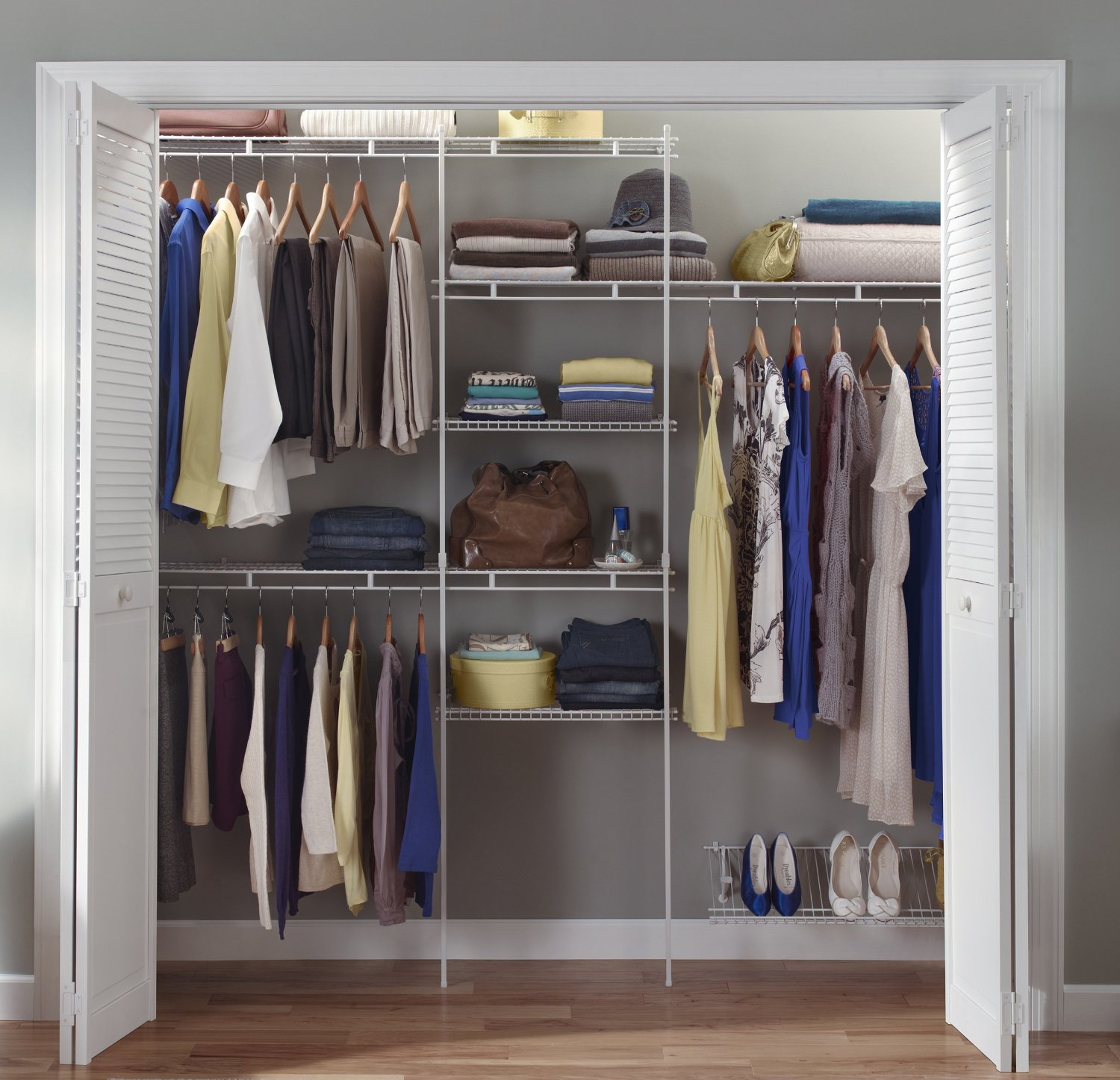 Closetmaid closet organizer kit 5 to 8 feet white color Pictures of closet organizers
