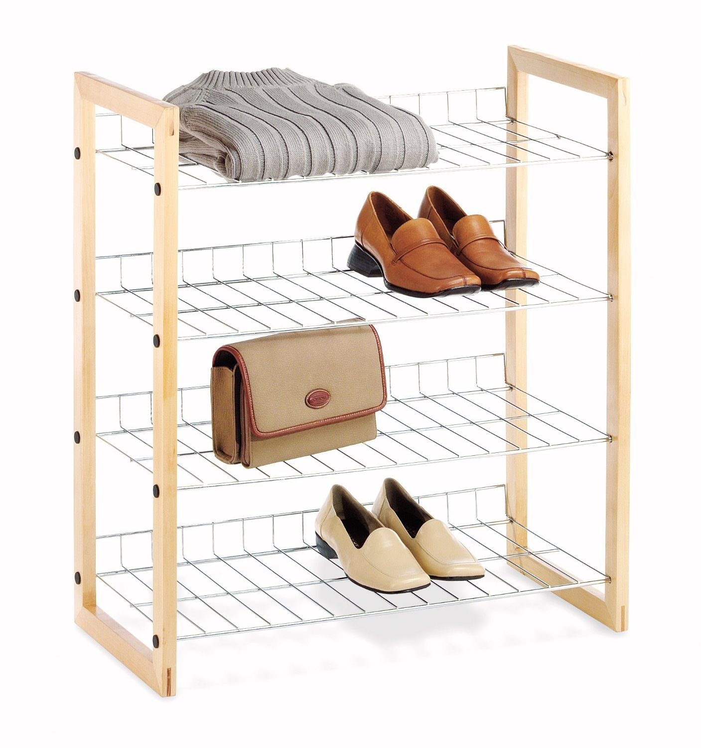 4 Tier Closet Wire Shelving with Natural Wood Frame
