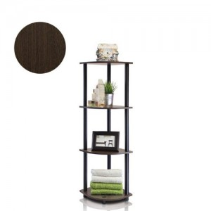 4-Tier Corner Display Rack Multipurpose Shelving Unit, Dark Brown Grain/Black