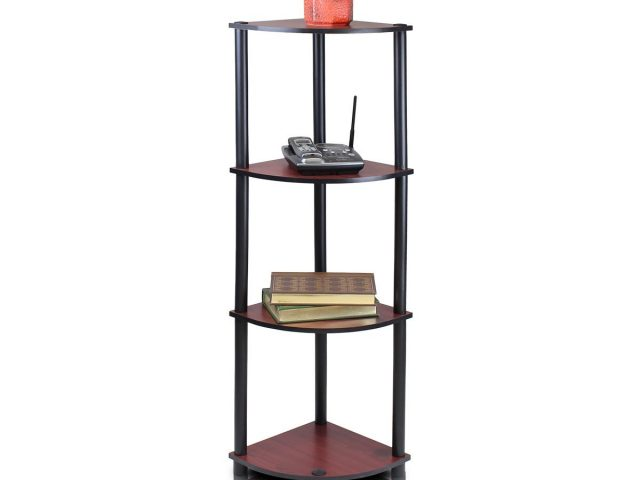 4-Tier Corner Display Rack Multipurpose Shelving Unit, Dark Cherry/Black