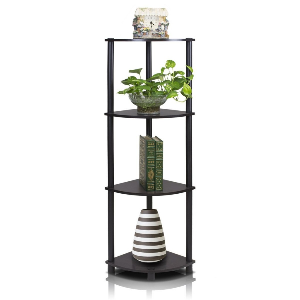 4-Tier Corner Display Rack Multipurpose Shelving Unit, Espresso/Black