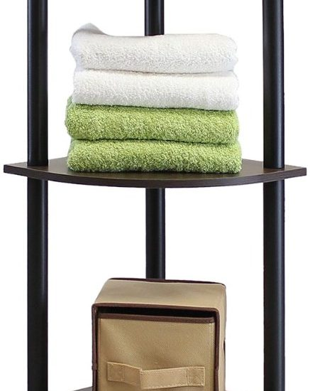 5-Tier Corner Display Rack Multipurpose Shelving Unit, Dark Brown Grain/Black