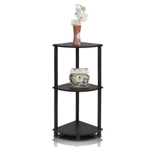 3-Tier Corner Display Rack Multipurpose Shelving Unit, Espresso/Black