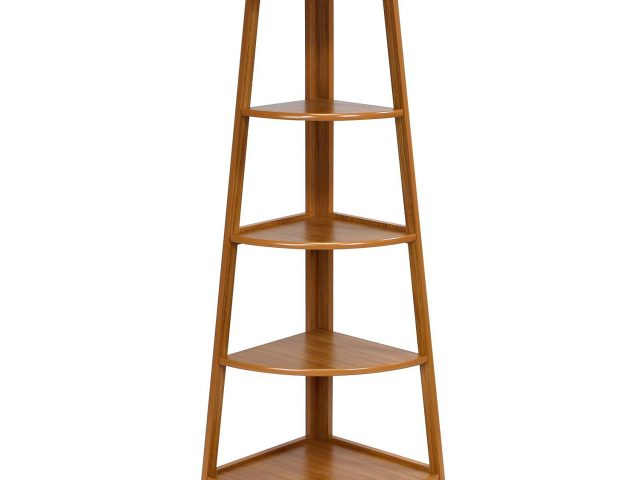 5-Layer Corner Ladder Garden Shelf, Cherry