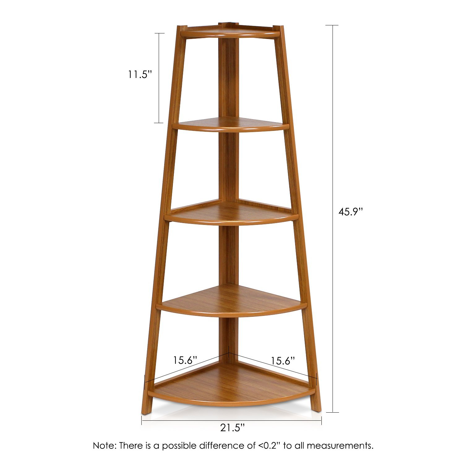 Furinno 5 Tier Corner Ladder Shelving Unit – Cherry Color-Review