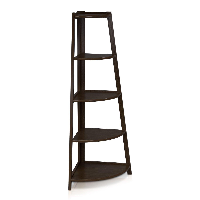 Furinno-5 Tier Corner Ladder Shelf with Espresso Black Color - Review