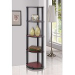 Furinno 5 Tier Multi Purpose Corner Shelving Unit -Dark Cherry/Black Color