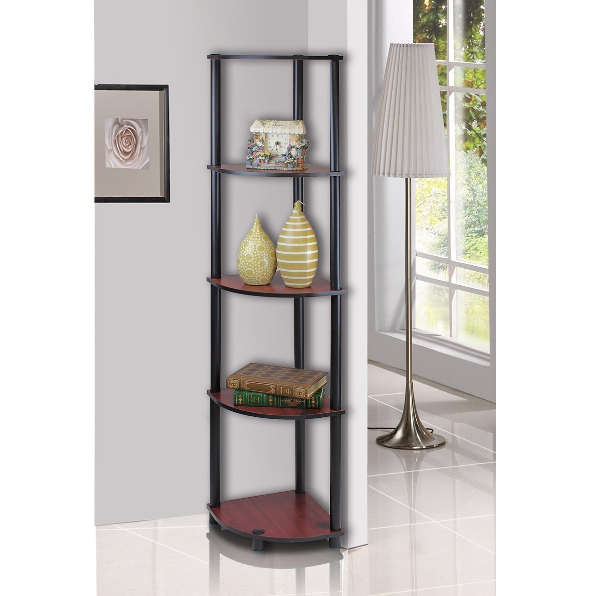 5 Tier Multi Purpose Corner Shelving Unit-Dark Cherry/Black Color