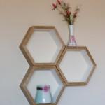 Set of 3 Honeycomb floating shelves (Hexagon shelf).