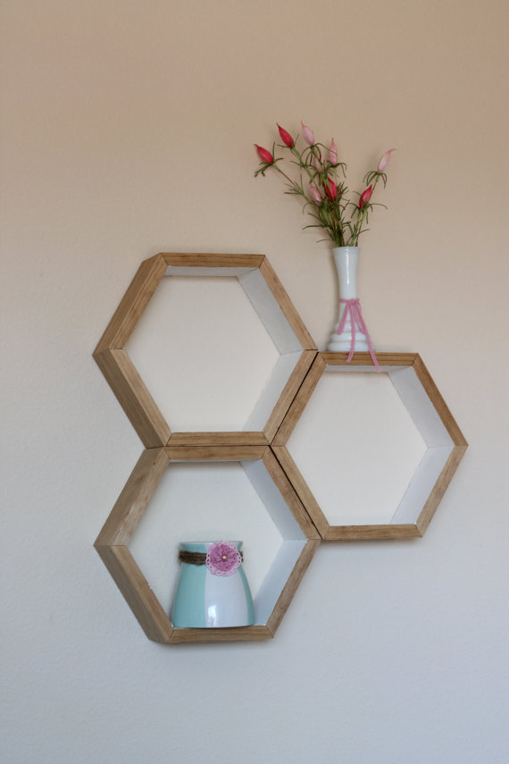 set of 3 honeycomb floating shelves hexagon shelf. Black Bedroom Furniture Sets. Home Design Ideas