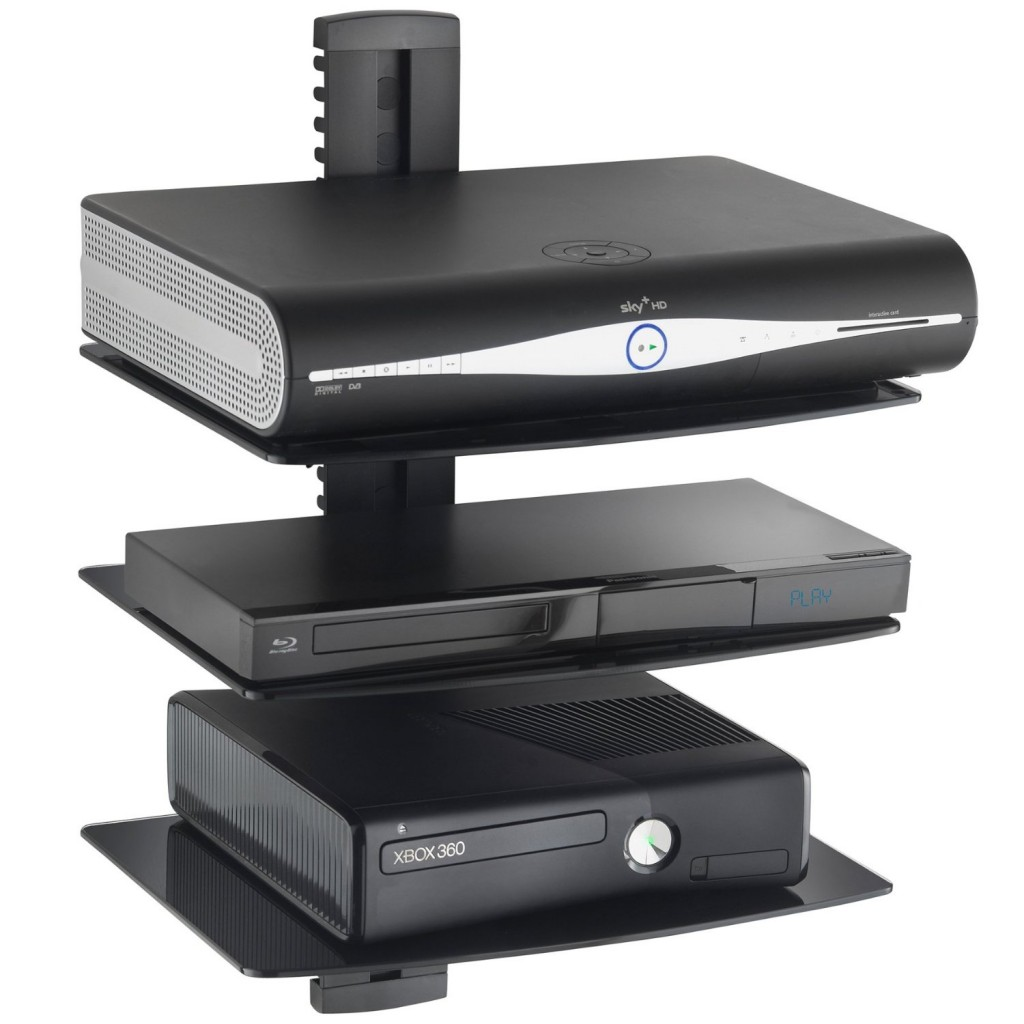 vonhaus 3x black floating shelves with tempered glass for dvd players