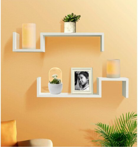 Shelving Solution Set Of 2 Color U201cSu201d Wall Mount Shelves With Candles  (White):
