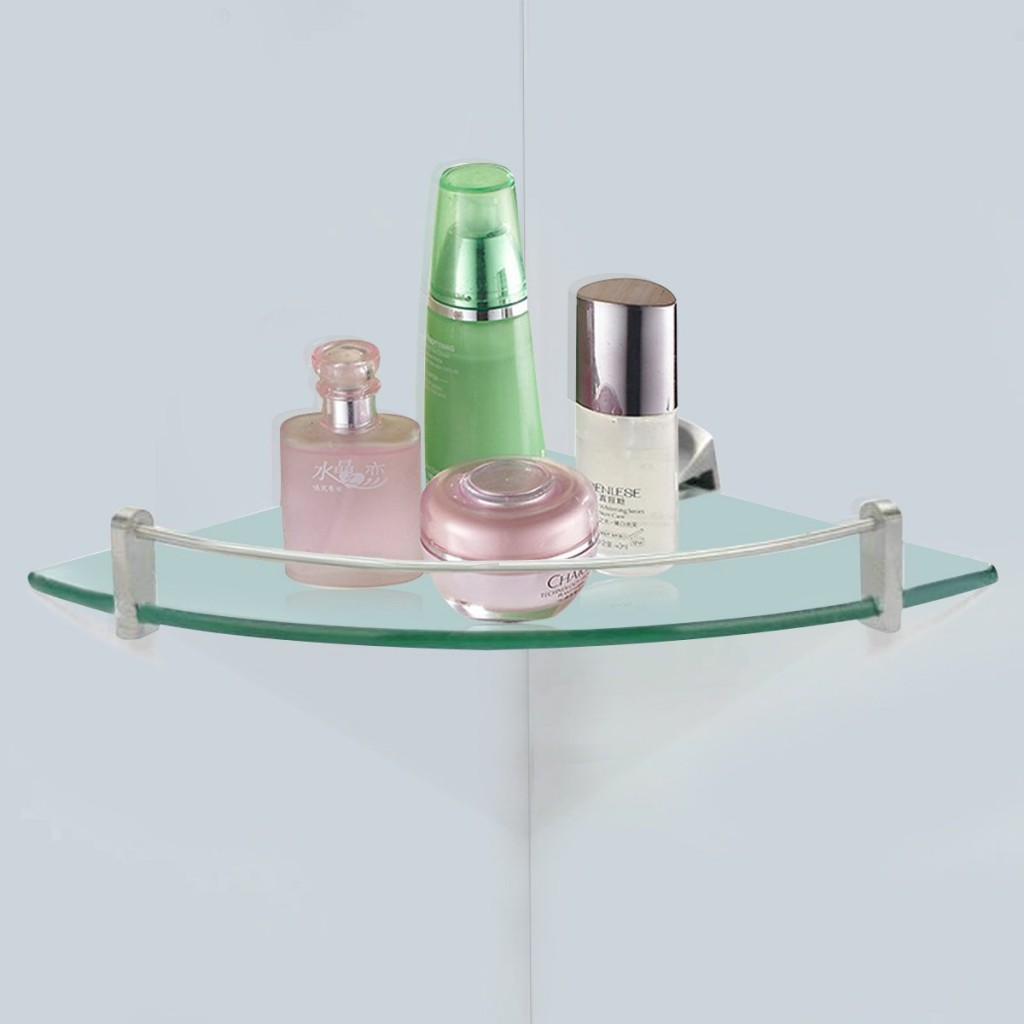 Top 20 floating glass shelves for interiors for Bathroom glass shelves