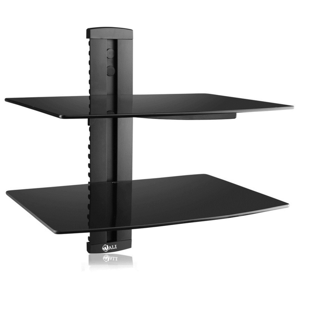 top  floating glass shelves for interiors - wali floating shelf with tempered glass for dvd playersgames consolemedia– black