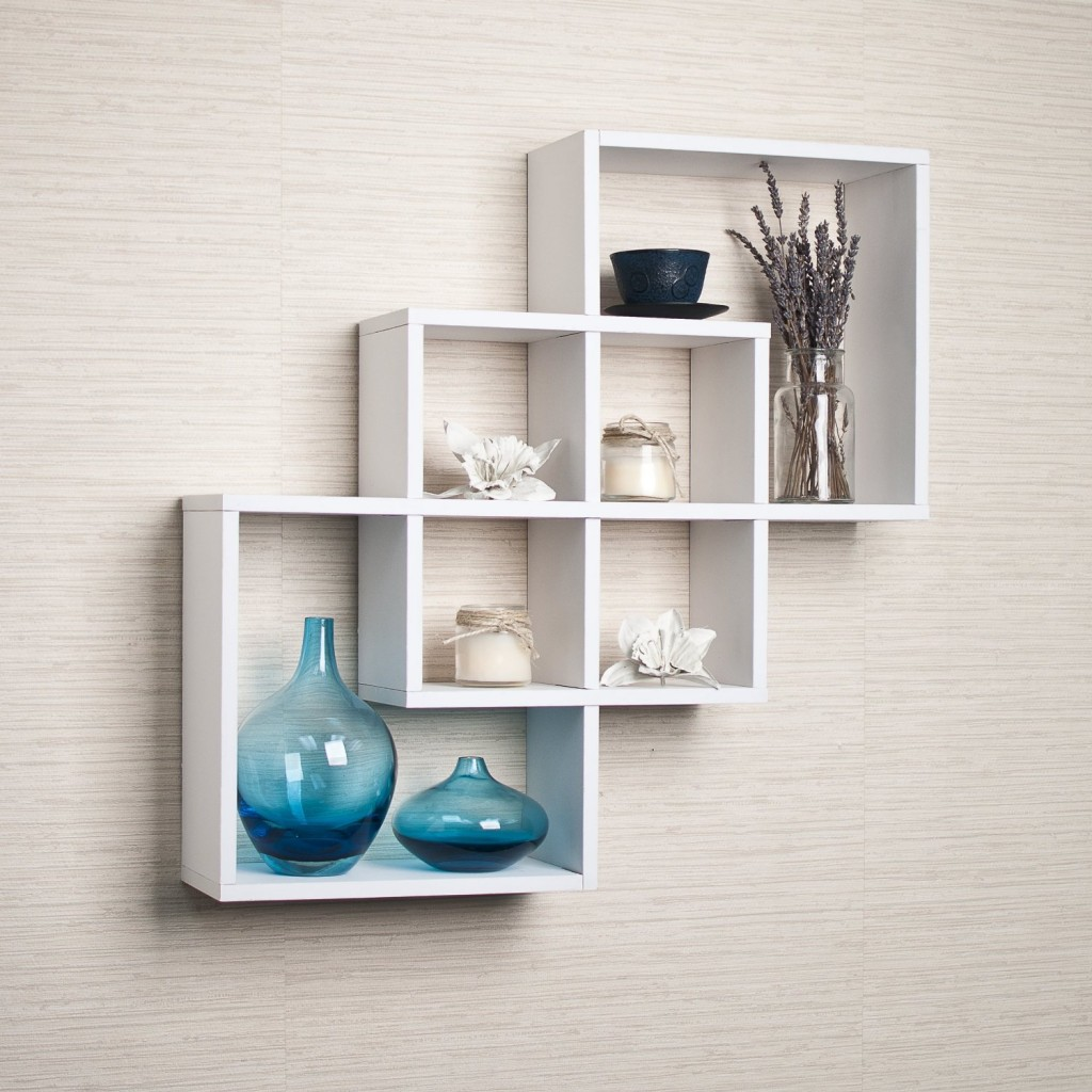 top  white floating shelves for home interiors - intersecting squares decorative white wall shelfintersectingwhitefloatingshelf