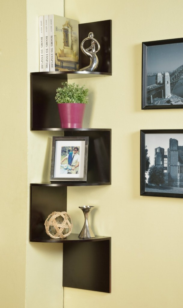Corner Zig Zag Hanging Wall Shelf