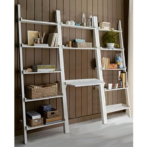 3 piece white leaning lader bookshelf