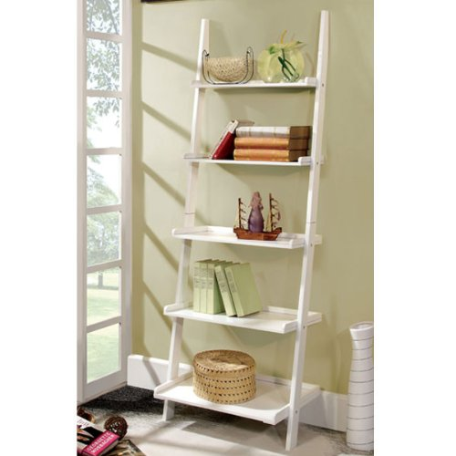 5 tier ladder shelf white