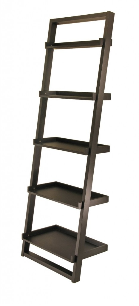 5 tier wood leaning ladder shelf