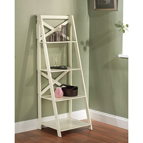 antique white 4 tier ladder shelf