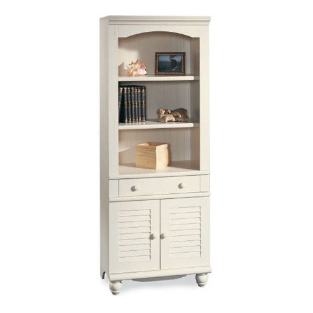 Sauder Harbor View Library with Doors, Antiqued White Finish. bookshelf  with door antique - Top 30 Collection Of White Bookcases And Bookshelfs