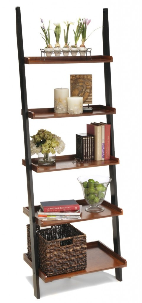leaning bookshelf ladder brown cherry