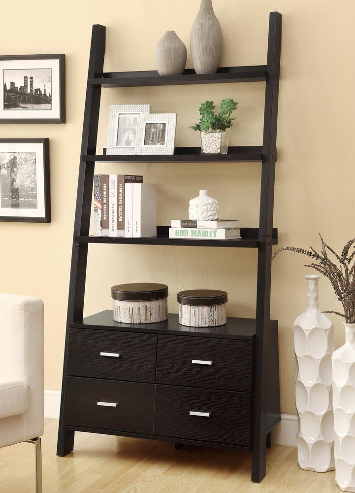leaning ladder bookcase capuccino