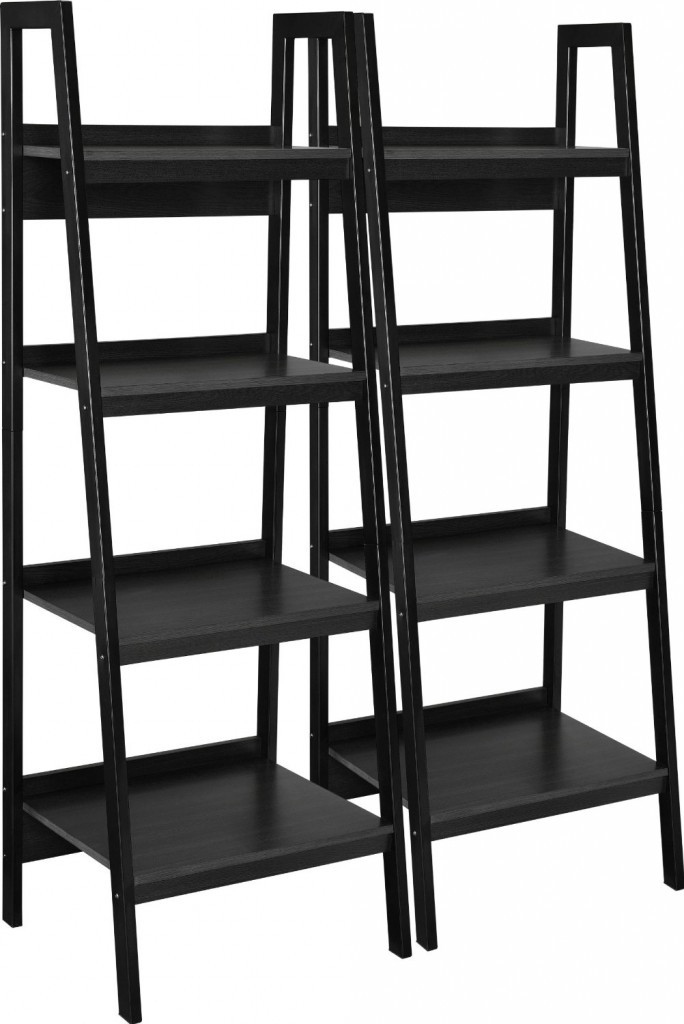 leaning ladder shelf black bundle bookshelf