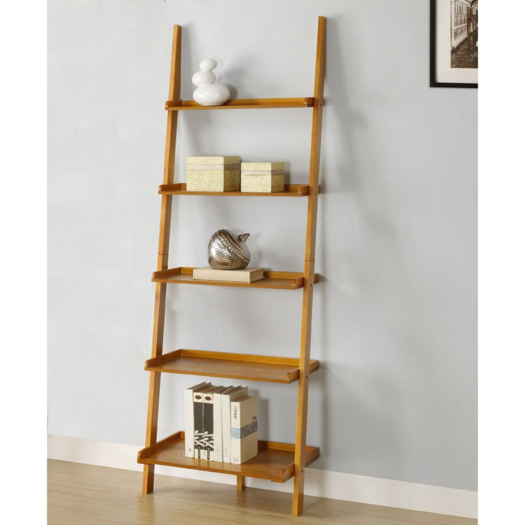 leaning ladder shelf oak finish