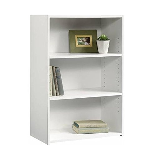 white 3 shelf bookcase adjustable height