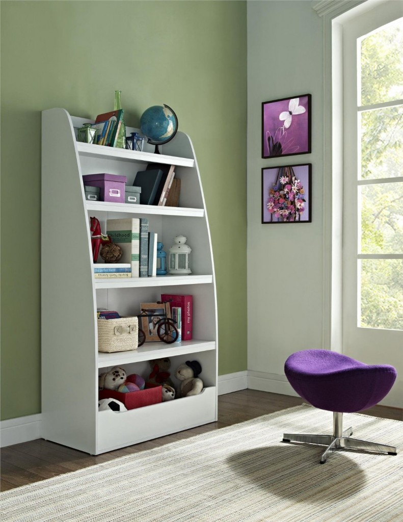 white bookcase with 4 shelves
