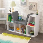 white bookcase with reading nook toy