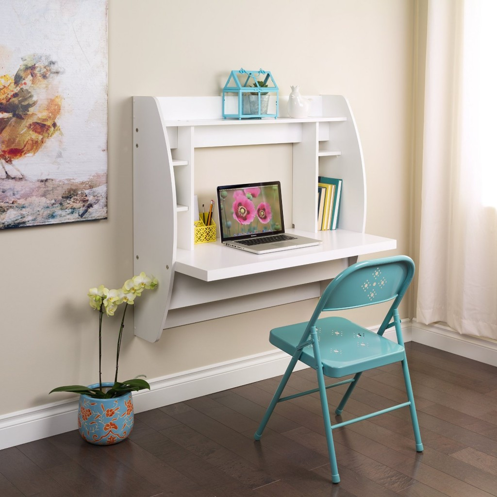white floating desk bookshelf