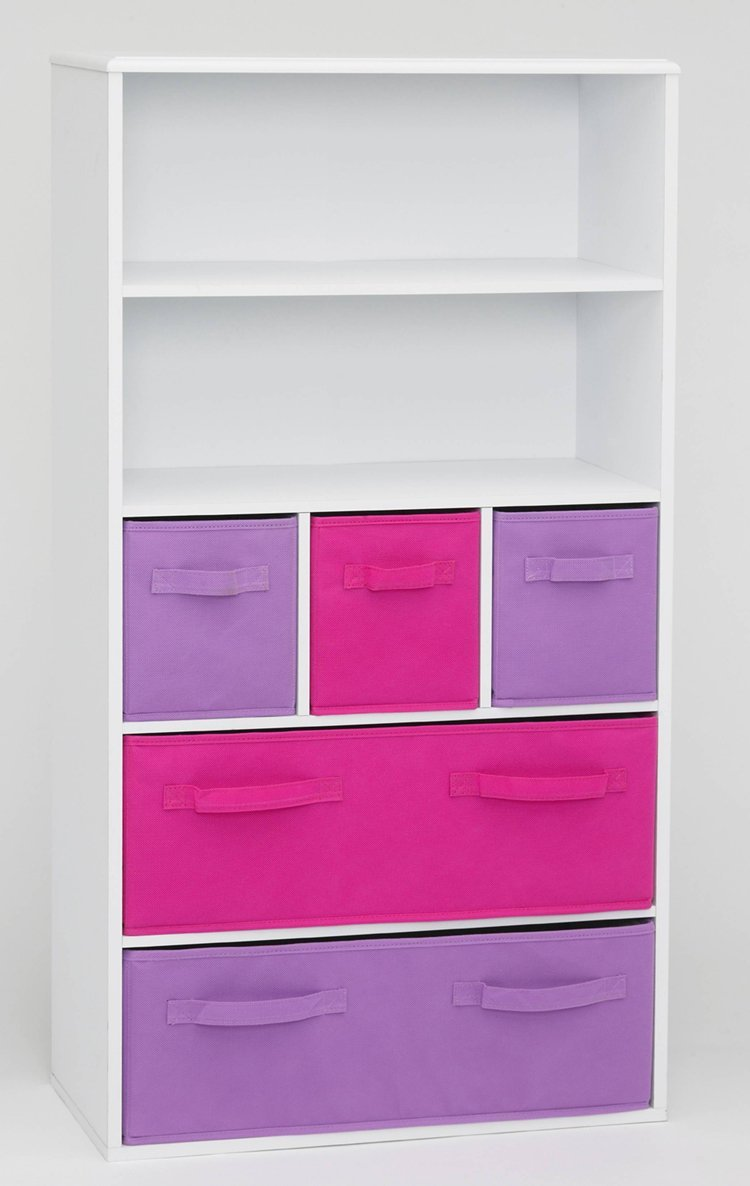 4D Concepts Girls Storage Bookcase White With Drawers Girly Design