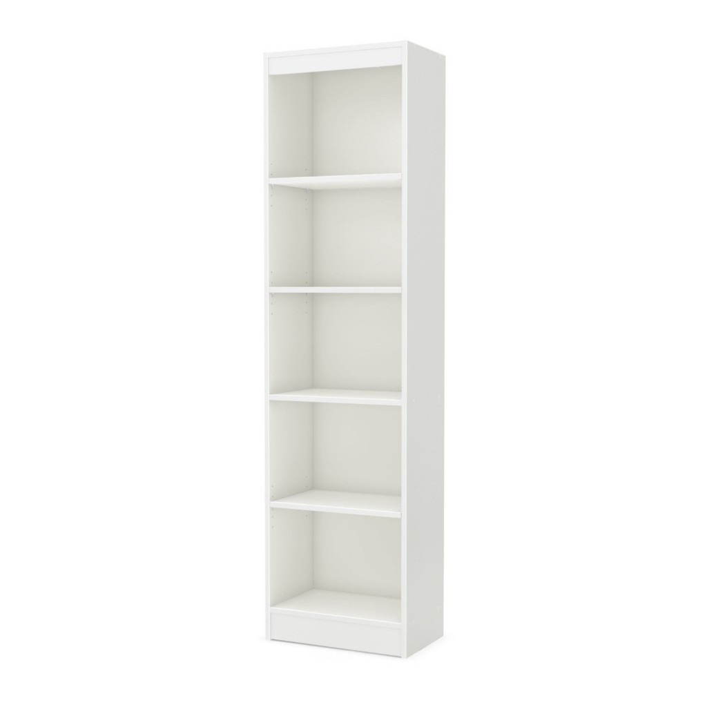 white narrow bookcase
