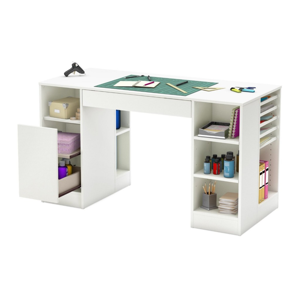 white table bookshelf combo