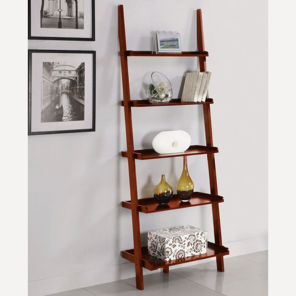 Cherry ladder shelving