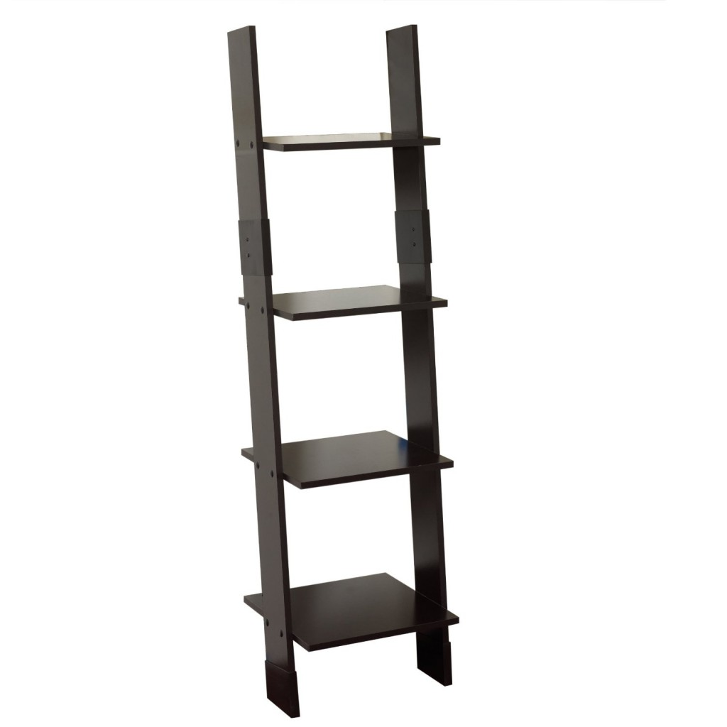 bookshelf with ladder black