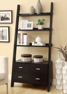 cappuccino ladder bookcase