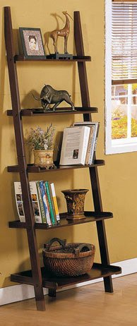 dark espresso brown leaning shelf