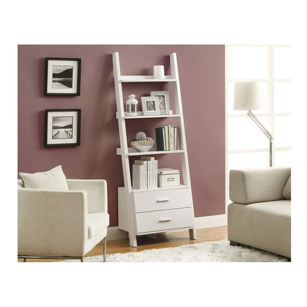 white bookcase with drawer