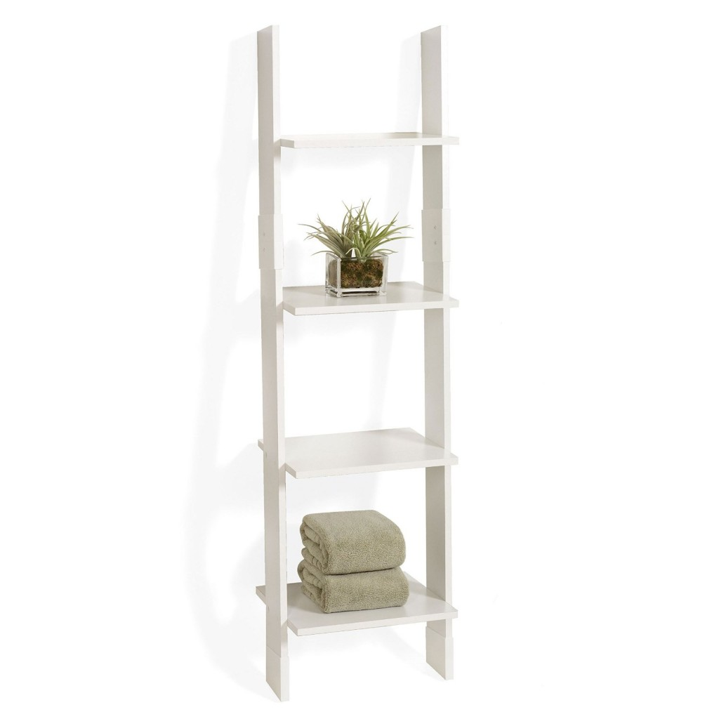 white ladder leaning bookshelf