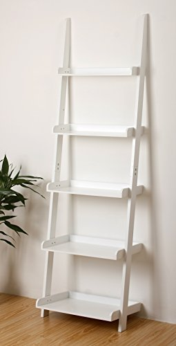 white leaning ladder shelf