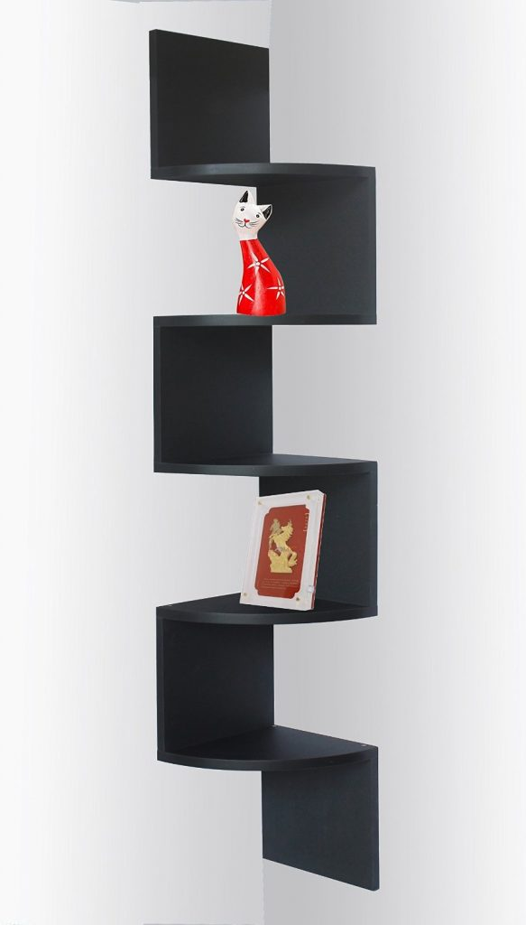 corner shelves black zigzag