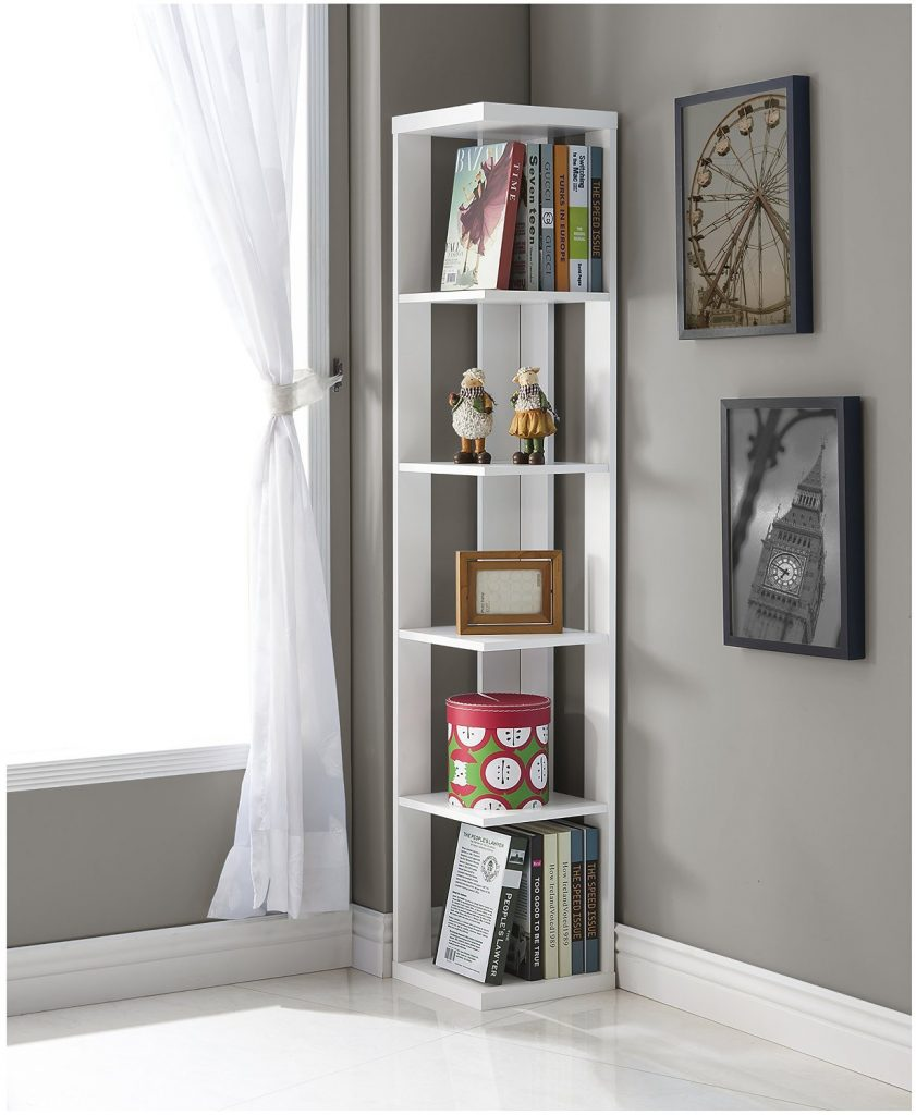 White Finish Wood Wall Corner Shelves for Living Room