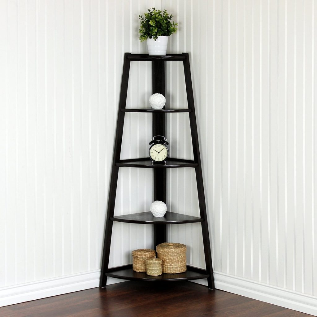 corner shelves for living room 5 tier espresso