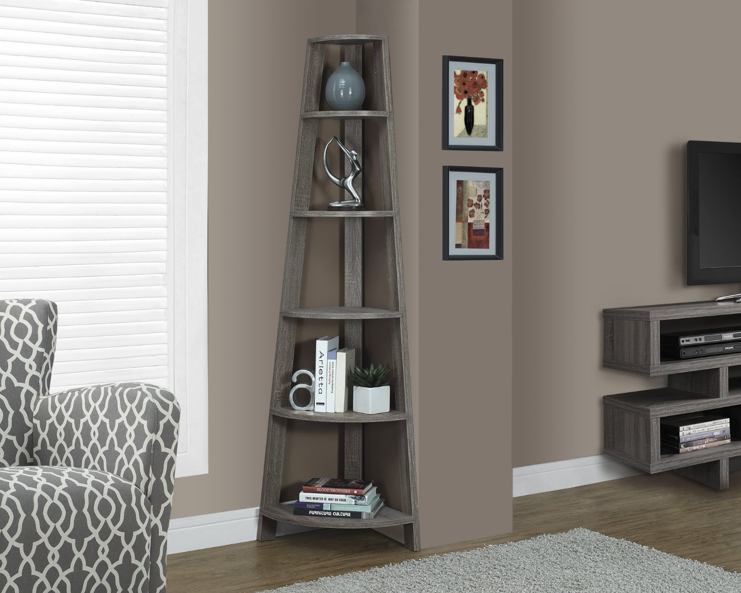 Corner Shelves For Living Room Dark